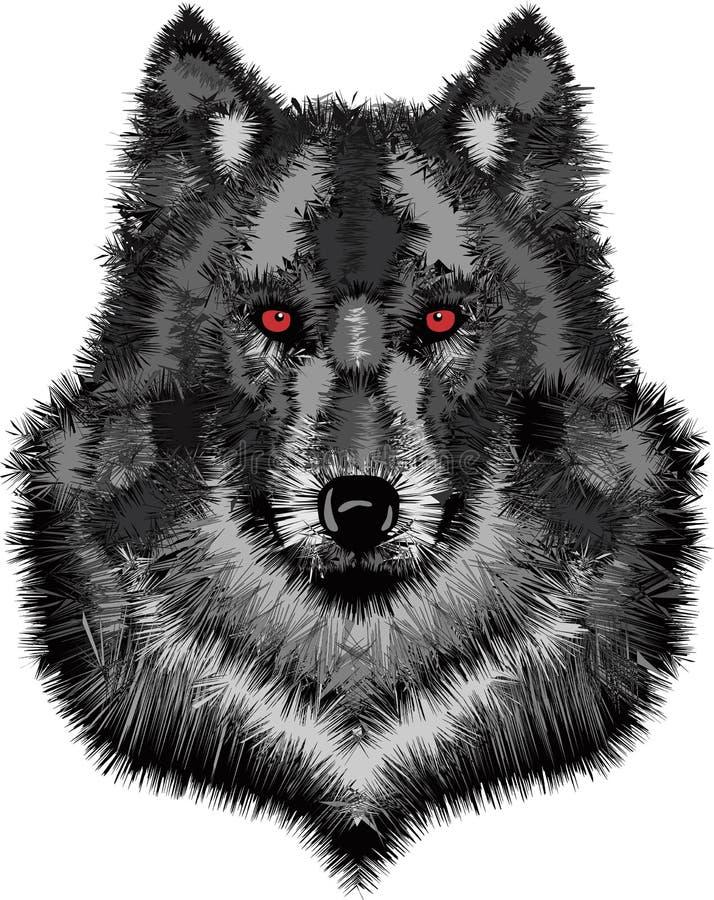 Dzika wilk głowa ilustracji