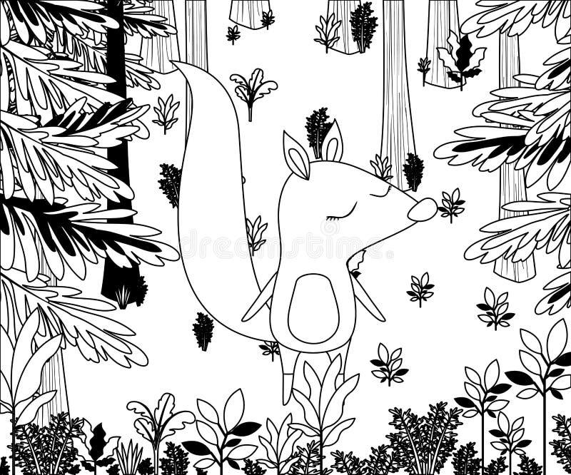 Dziki chipmunk w dżungli scenie royalty ilustracja