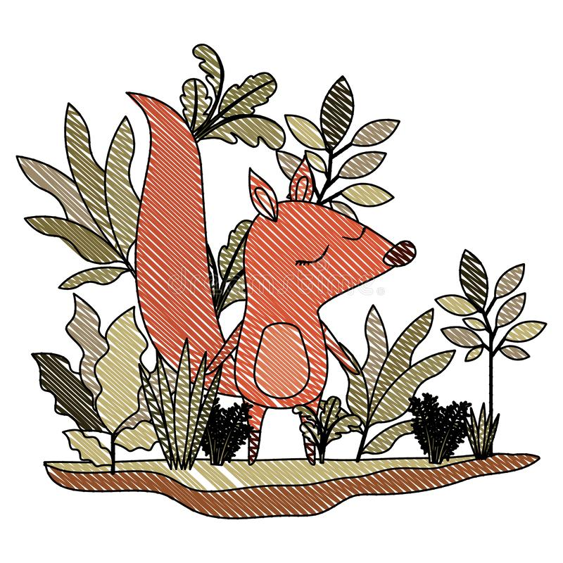 Dziki chipmunk w dżungli scenie ilustracja wektor