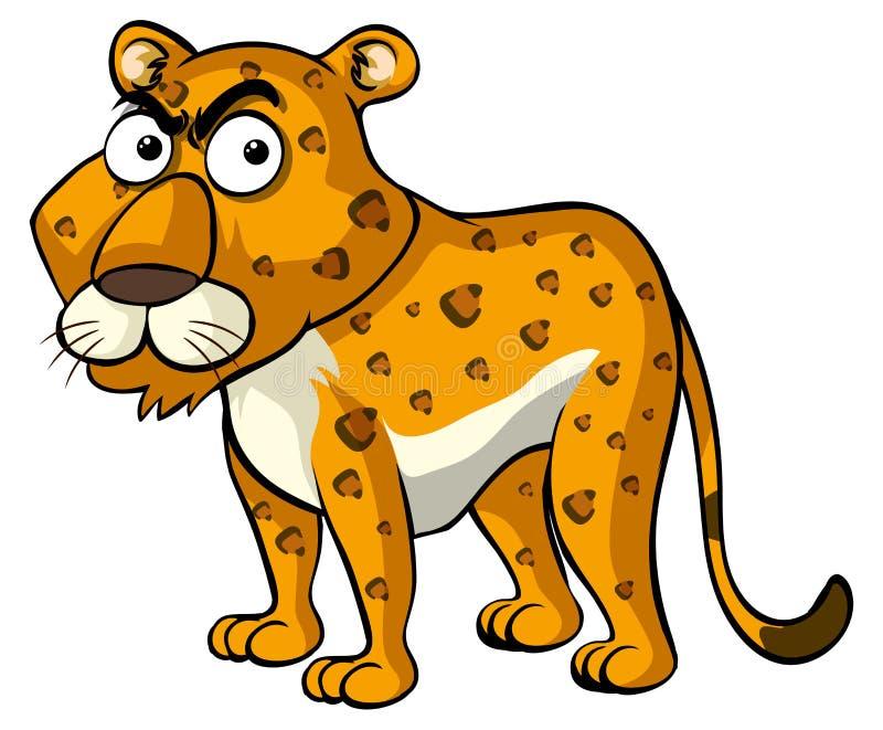 Dziki gepard z gniewną twarzą royalty ilustracja