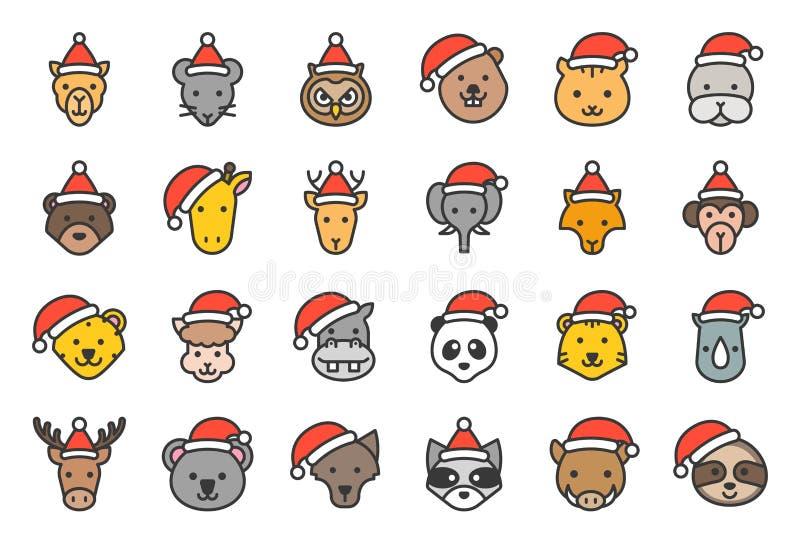 Dziki i lasowy zwierzęcy jest ubranym boże narodzenie kapeluszowej ikony editable kontur ilustracji