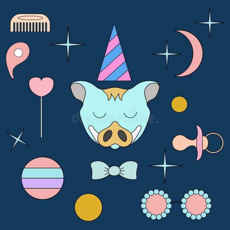 dziki knura dosypianie Twarzy odosobniony zwierzę dla dekoracji Dziecka ` s rysunek Delikatni kolory ilustracja wektor
