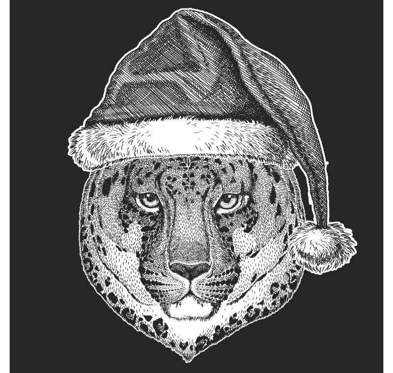 Dziki kot, lampart, panter boże narodzenia, nowego roku świętowanie Święty Mikołaj zimy kapelusz Xmas pióropusz ilustracja wektor