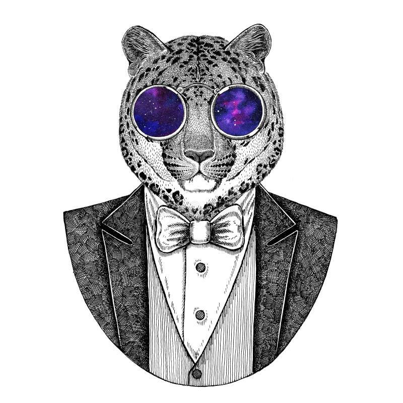 Dziki kota lamparta kota ` - halna ręka rysująca pantery ilustracja royalty ilustracja