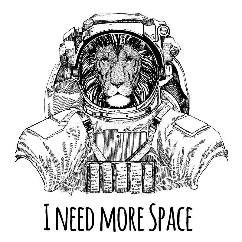 Dziki kota lwa astronauta Astronautyczny kostium Wręcza patroszonego wizerunek lew dla tatuażu, koszulka, emblemat, odznaka, logo ilustracji
