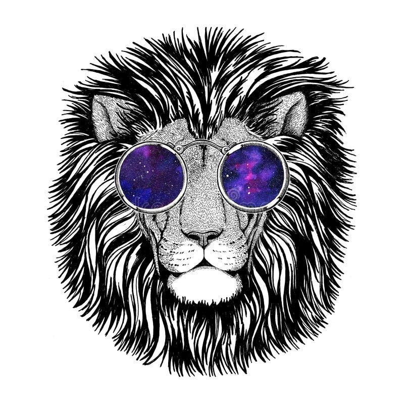Dziki modnisia lwa wizerunek dla tatuażu, logo, emblemat, odznaka projekt ilustracja wektor