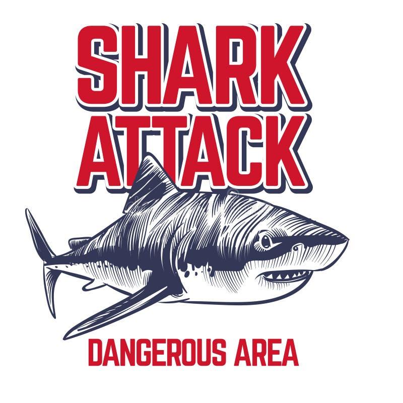 Dziki napadanie rekin Straszne szczęki rekin Rocznika oceanu kipieli koszulki majcheru wektorowy projekt royalty ilustracja