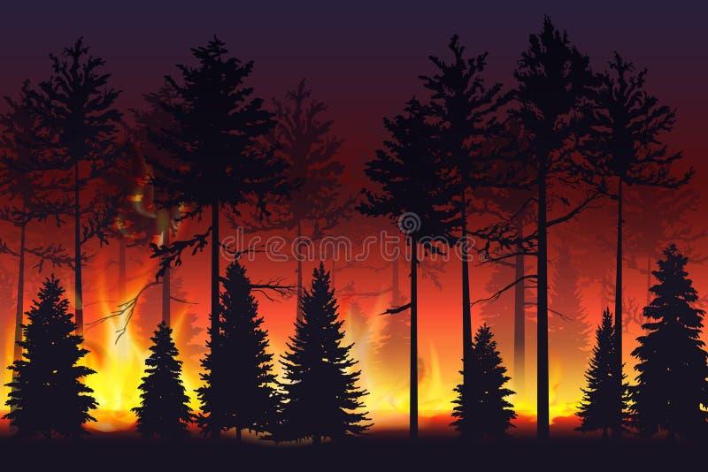 Dziki ogień w noc lasu katastrofie naturalnej pożar Czarni sylwetek drzewa na pożarniczej realistycznej wektorowej ilustracji ilustracja wektor
