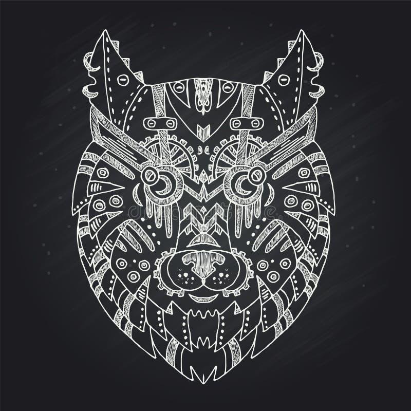 Dziki piękny wilk głowy ręki remis na kredowej deski tle Mody boho amerykanina kontrpary ruchu punk?w styl w wektorowej ilustraci ilustracji