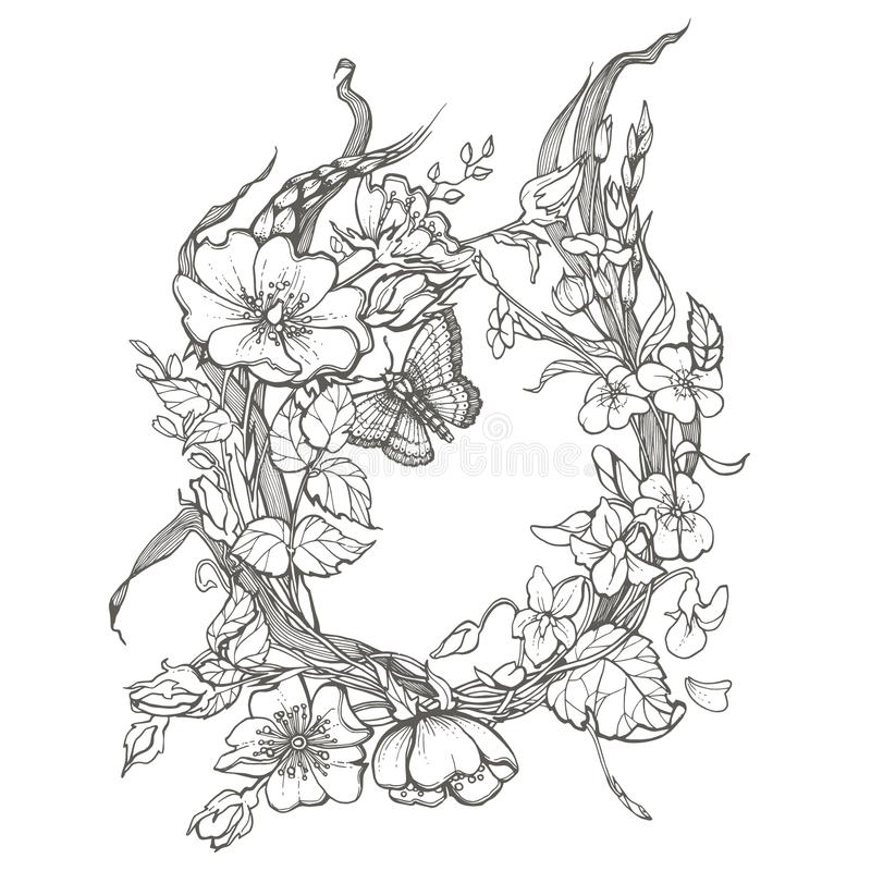 Dziki pies wzrastał kwiat ramy konturu atramentu kolorystyki dorosłej strony rysunkowego wektorowego clipart na białym tle ilustracji