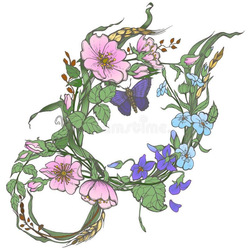 Dziki pies wzrastał kwiaty z motylim rysunkowym wektorowym clipart na białym tle ilustracja wektor