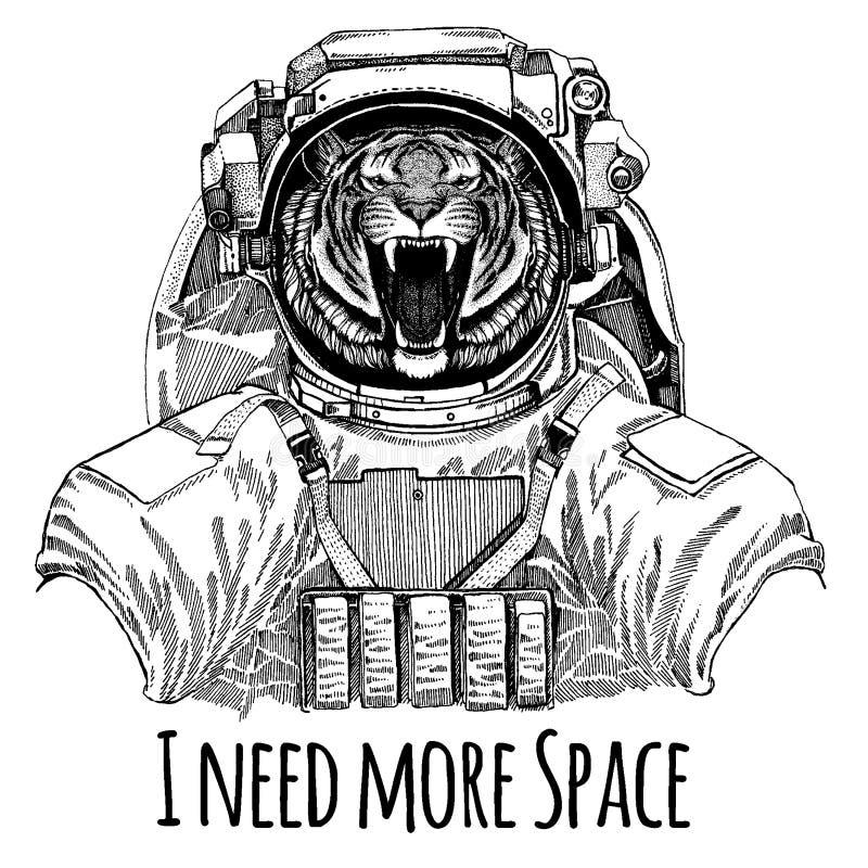 Dziki tygrysi astronauta Astronautyczny kostium Wręcza patroszonego wizerunek lew dla tatuażu, koszulka, emblemat, odznaka, logo  ilustracja wektor
