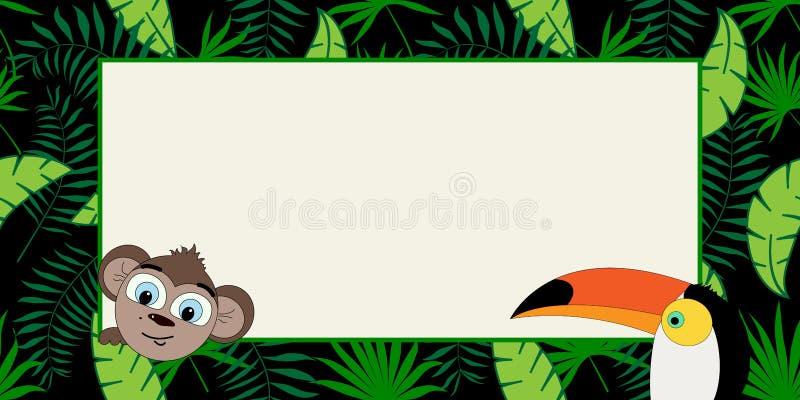 Dziki wektorowy sztandar z tropikalnymi roślinami, pieprzojadem i małpą w trendzie, ilustracja wektor