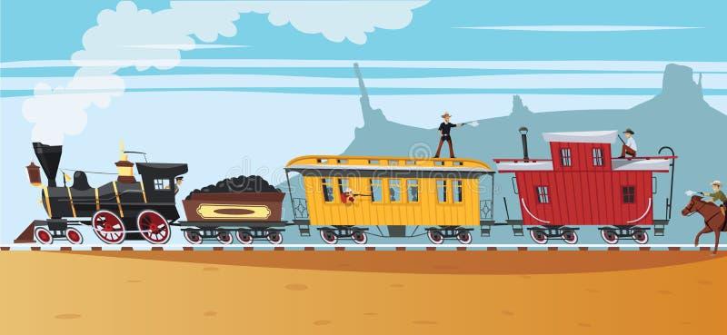 Dziki zachód kontrpary pociągu rabunek ilustracja wektor
