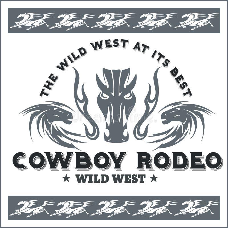 Dziki zachód - kowbojski rodeo 8 emblemata eps odizolowywający wektorowy biel royalty ilustracja
