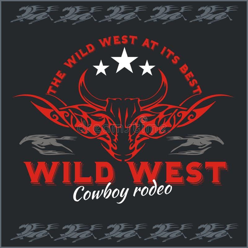 Dziki zachód - kowbojski rodeo 8 emblemata eps odizolowywający wektorowy biel ilustracja wektor
