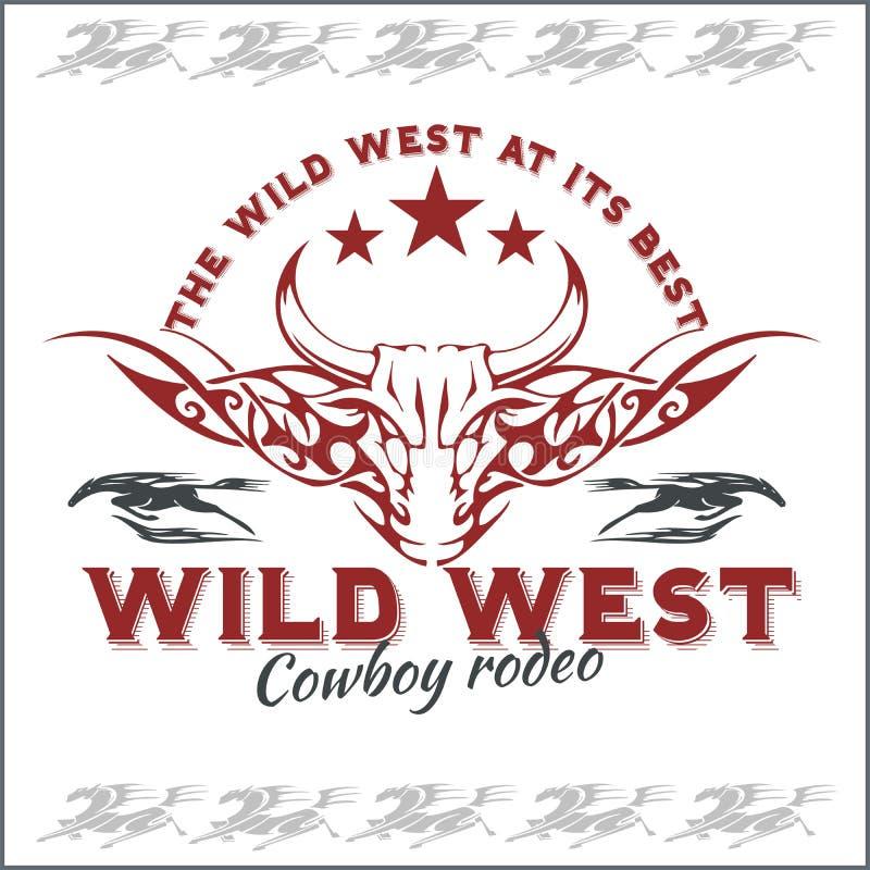 Dziki zachód - kowbojski rodeo 8 emblemata eps odizolowywający wektorowy biel ilustracji