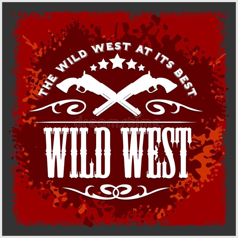 Dziki zachód, rocznik wektorowa grafika dla chłopiec odzieży royalty ilustracja