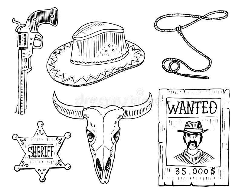 Dziki zachód, rodeo przedstawienie, kowboj lub hindusi z lasso, kapelusz, pistolet, kaktus z podkową, szeryf gwiazda i żubr, byk ilustracja wektor