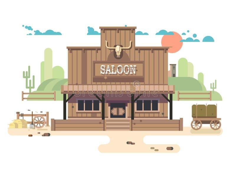 Dziki Zachodni bar ilustracji
