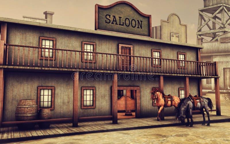 Dziki Zachodni bar i konie ilustracja wektor
