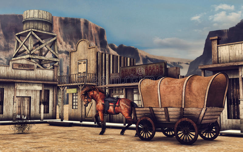 Dziki Zachodni drewniany miasteczko ilustracji