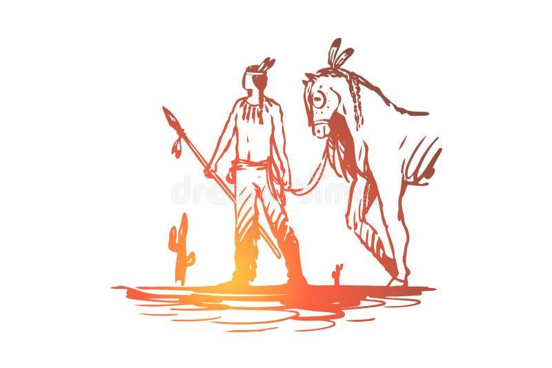 Dziki, zachodni, Indiański, koński, kultury pojęcie Ręka rysujący odosobniony wektor royalty ilustracja