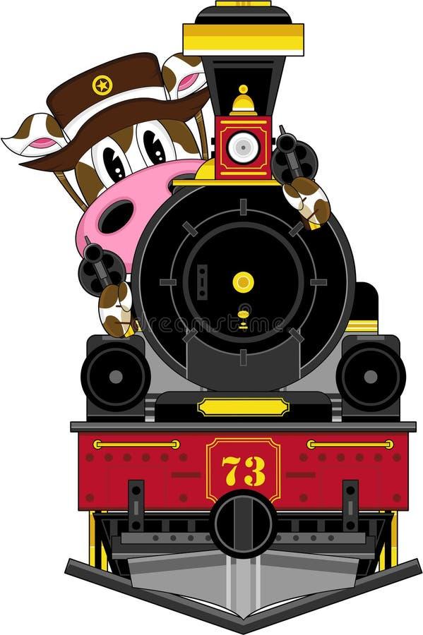 Dziki Zachodni krowa kowboj, pociąg i ilustracja wektor
