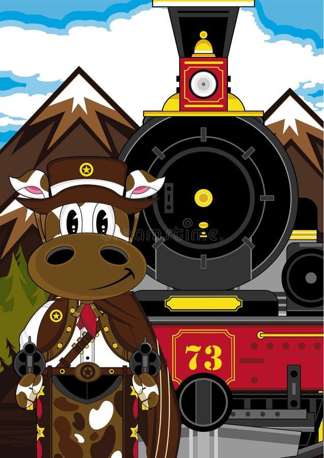 Dziki Zachodni krowa kowboj, pociąg i royalty ilustracja
