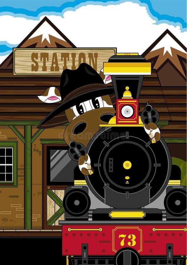 Dziki Zachodni krowa kowboj, pociąg i ilustracji