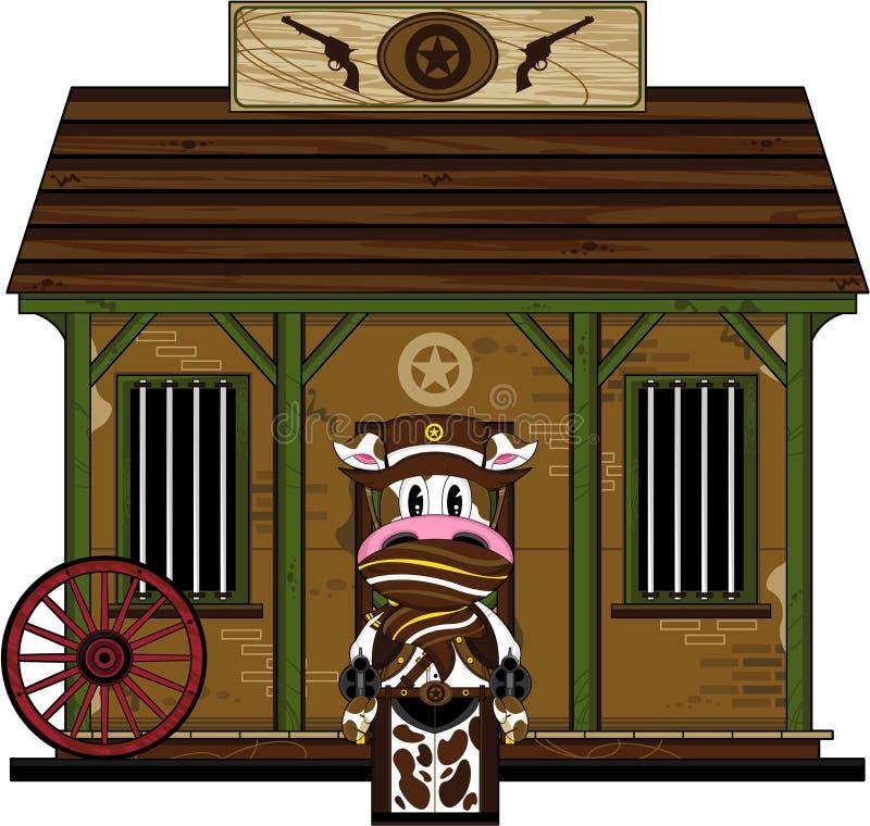 Dziki Zachodni krowa kowboj przy więzieniem ilustracji