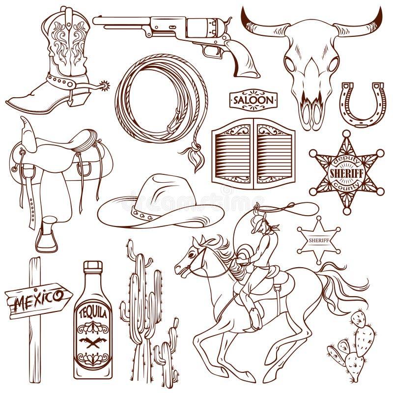 Dziki Zachodni Monochromatyczny ikona set ilustracja wektor