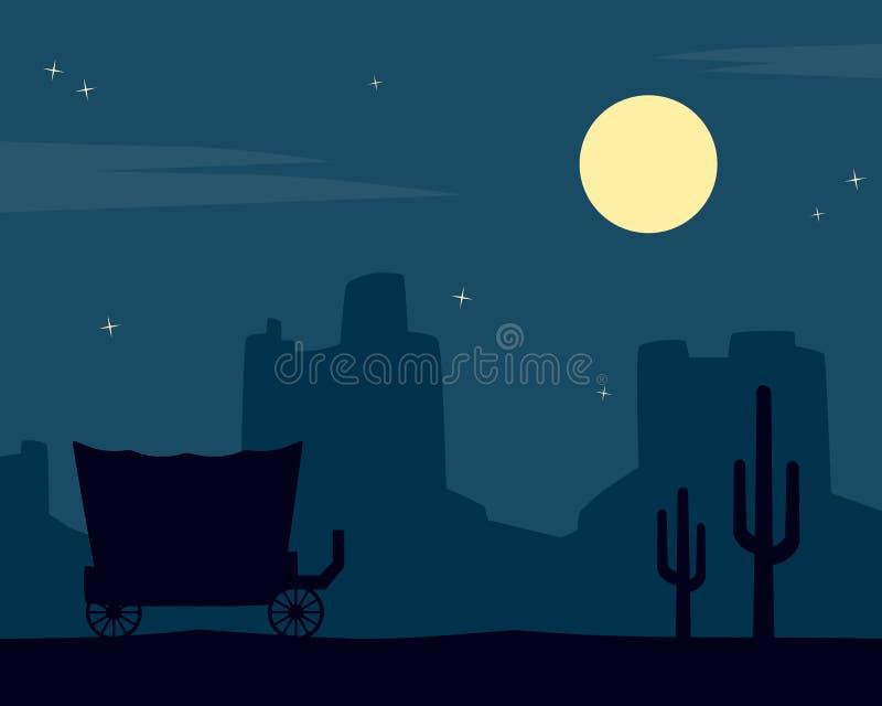 Dziki Zachodni nocy tło ilustracja wektor