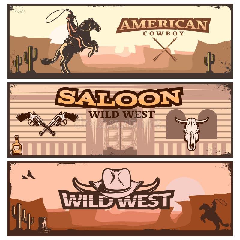 Dziki Zachodni sztandaru set ilustracji