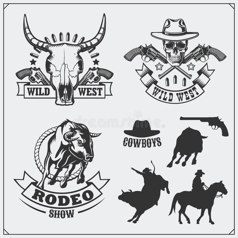 Dziki zachodni Ustawiający roczników emblematy, etykietki, odznaki i projektów elementy rodeo, szeryfa i kowboja, ilustracji