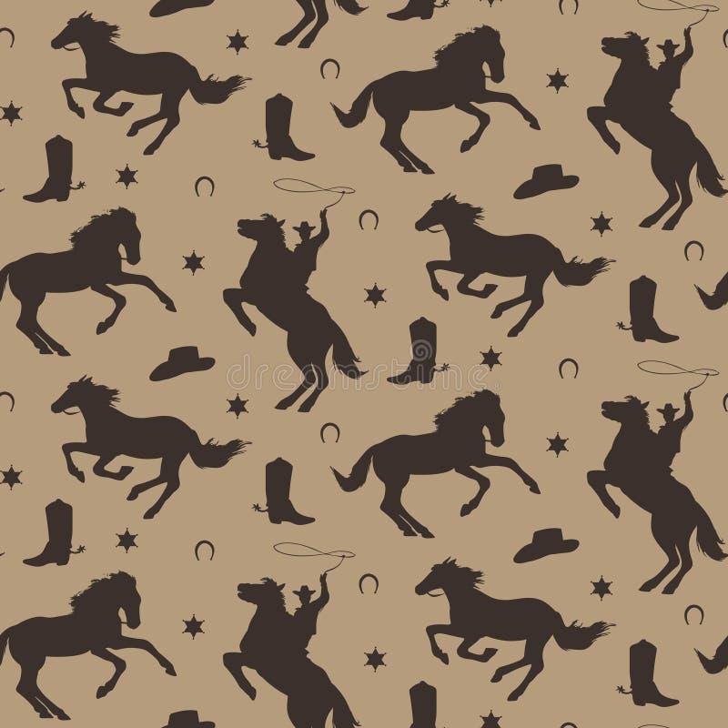 Dziki zachodni wektorowy bezszwowy wzór Kowbojski męski tło z koniami, podkowa, szeryf odznaka, but, kapelusz royalty ilustracja