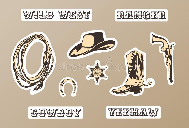 Dziki zachodni wektorowy majcheru set Wręcza patroszoną sylwetkę podkowa, szeryf odznaka, but, kapelusz, pistolet, lasso dla kowb royalty ilustracja