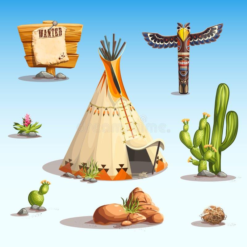 Dziki zachodu set ilustracji