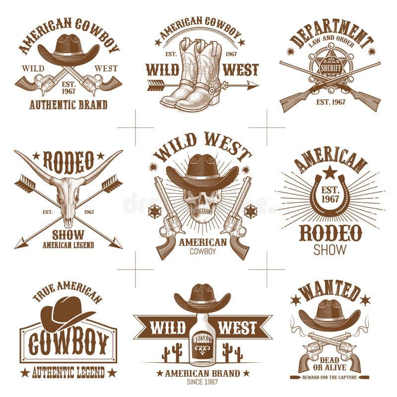 Dzikich Zachodnich logów Wektorowa kolekcja 2 royalty ilustracja