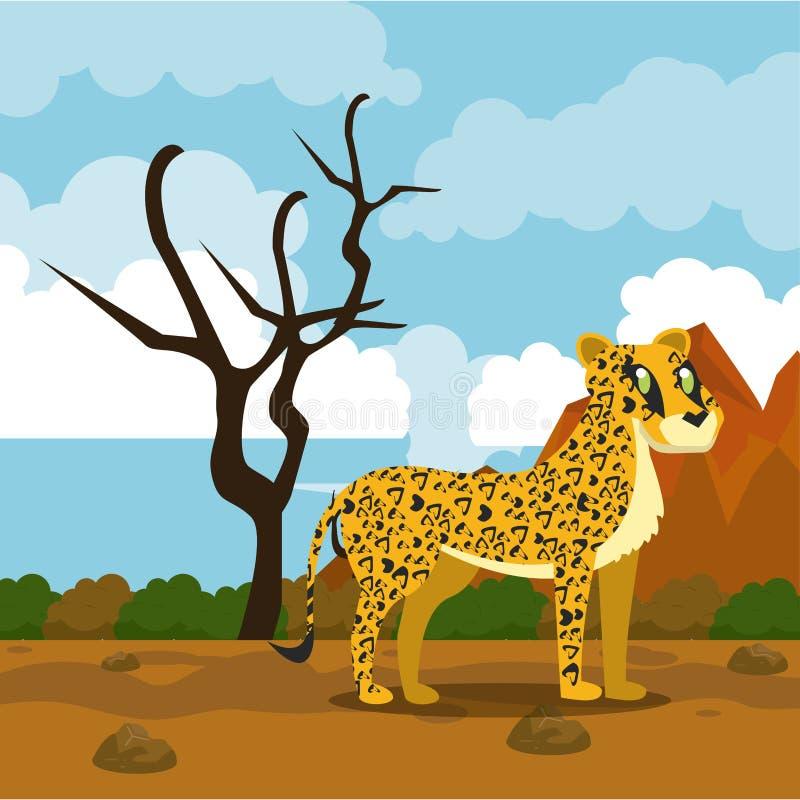 Dzikie afrykańskie zwierzę kreskówki ilustracja wektor