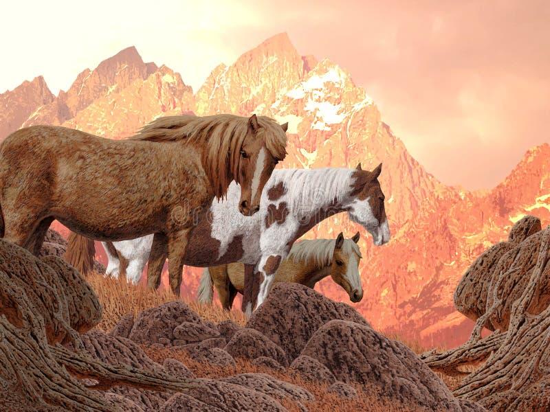 dzikie konie ilustracji