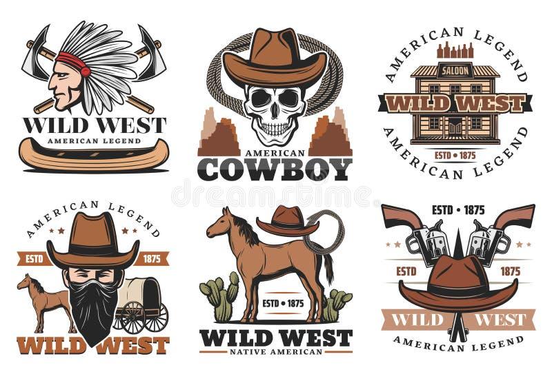 Dzikie Zachodnie ikony, kowboj i konie, ilustracji
