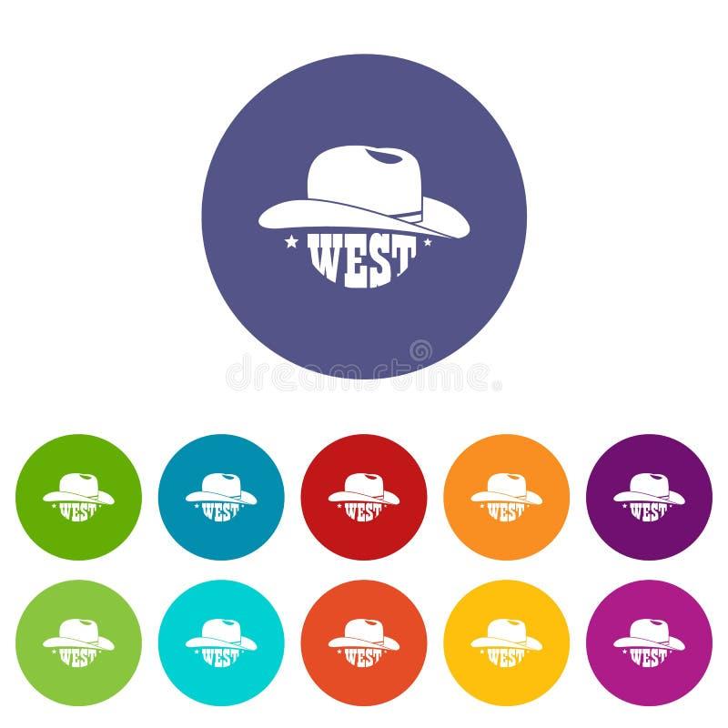 Dzikie zachodnie ikony ustawiający kowbojskiego kapeluszu wektorowy kolor ilustracji