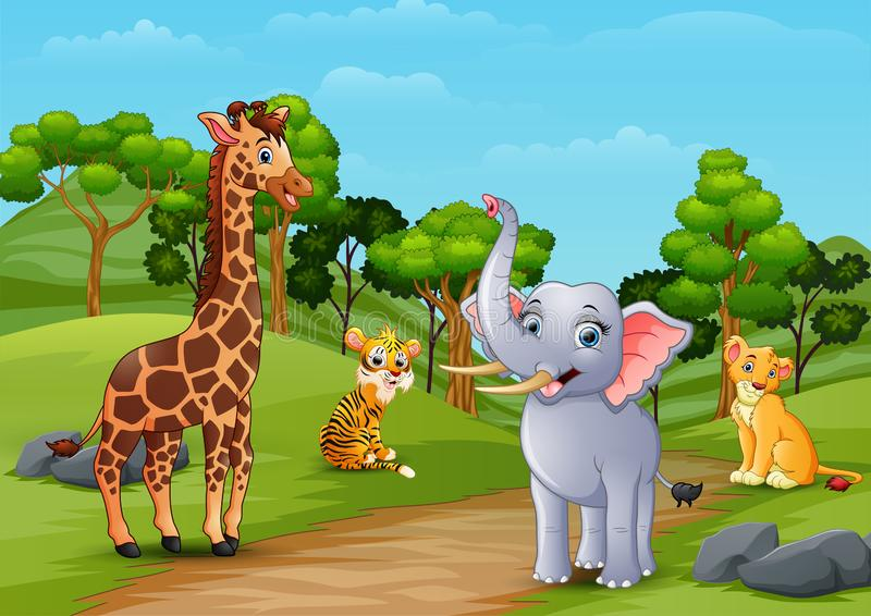 Dzikie zwierzę kreskówka bawić się w dżungli ilustracja wektor