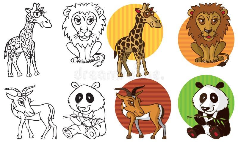 Dzikie zwierzę żyrafy lwa gazeli panda ilustracji