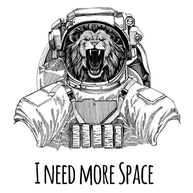 dzikie zwierzę dziki kot lew astronauci Astronautyczny kostium Wręcza patroszonego wizerunek lew dla tatuażu, koszulka, emblemat, ilustracja wektor