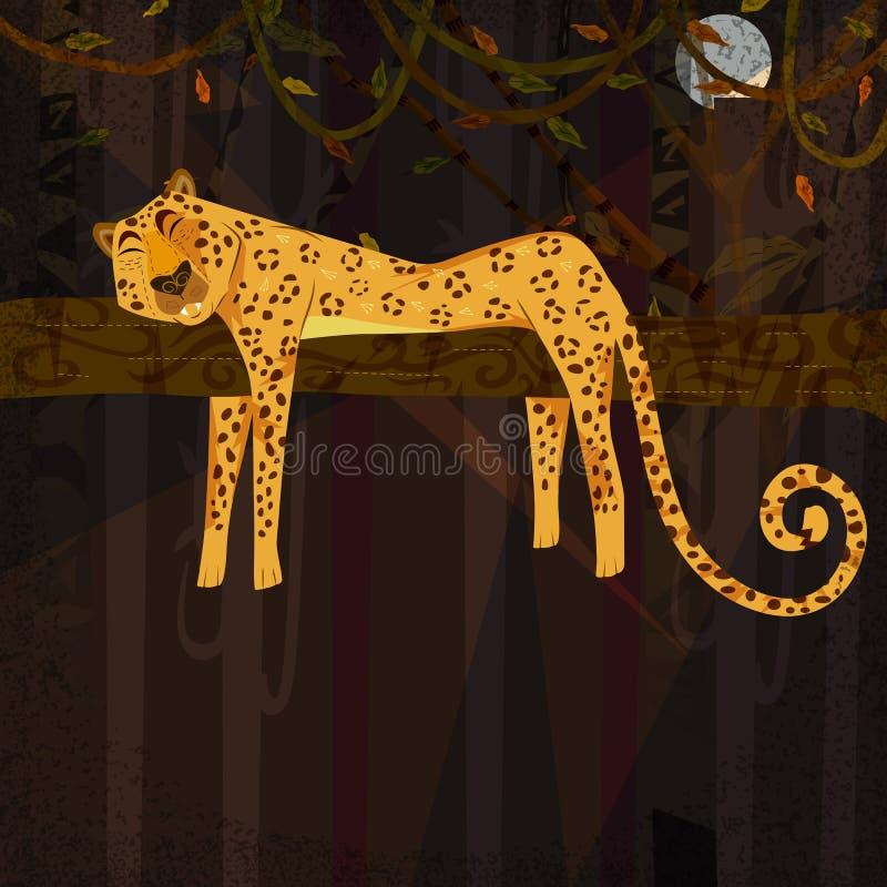 Dzikie zwierzę gepard w dżungla lasu tle royalty ilustracja