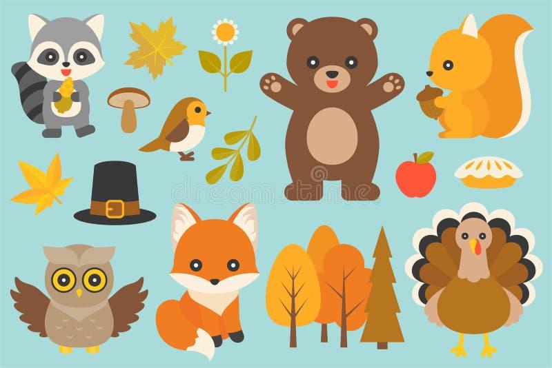 Dzikie zwierzę i elementy royalty ilustracja