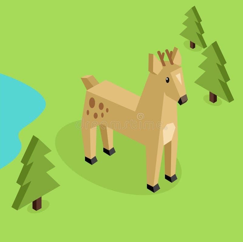 Dzikie Zwierzę Jeleni Isometric 3d projekt ilustracji