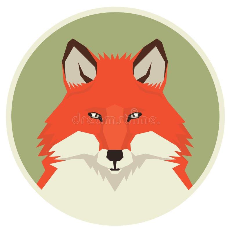 Dzikie zwierzę kolekci głowa Czerwony Fox ikony Geometryczny stylowy rou ilustracji